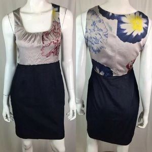 Elie Tahari Floral Silk Ruched Colorblock Dress